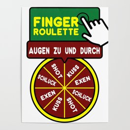 Drinking Finger Roulette  Water Wine Alcohol Gift  Poster
