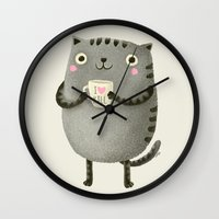 grey Wall Clocks featuring I♥kill (brown) by Lime