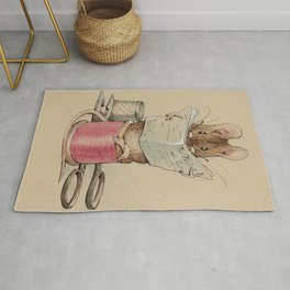 Cute little mouse reading a newspaper Rug