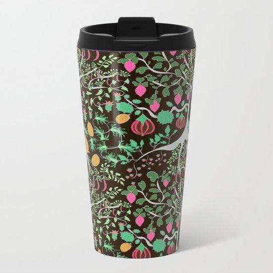 Fairy floral pattern unusual plants, trees and flowers Metal Travel Mug