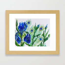 Blue iris and peacock Framed Art Print