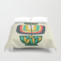 plant Duvet Covers featuring Potted Plant 3 by Picomodi