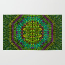 Butterfly flower jungle and full of leaves everywhere Rug