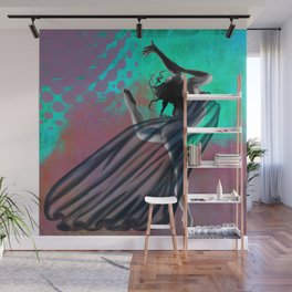 Flying Woman with veil clear Wall Mural