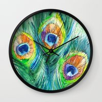 peacock feather Wall Clocks featuring Peacock feather  by Slaveika Aladjova