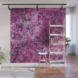 Messy Pink Foral Wall Mural
