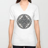 lace V-neck T-shirts featuring Charcoal Lace Pencil Doodle by micklyn