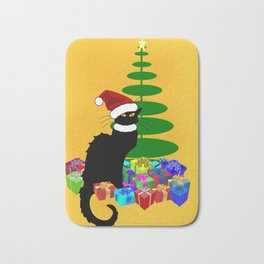 Christmas Le Chat Noir With Santa Hat Bath Mat