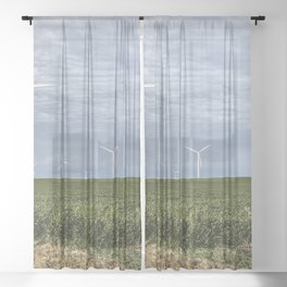 Wind turbines dominate the sky over the soybean fields of Franklin County Iowa Sheer Curtain