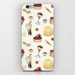 Sweet pattern with various desserts. iPhone Skin