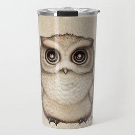 """The Little Owl"" by Amber Marine ~ Graphite & Ink Illustration, (Copyright 2016) Travel Mug"