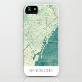 Barcelona Map Blue Vintage iPhone Case