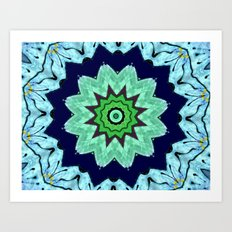 Lovely Healing Mandalas in Brilliant Colors: Light Blue, Dark Blue, Mint, Purple, and Green Art Print