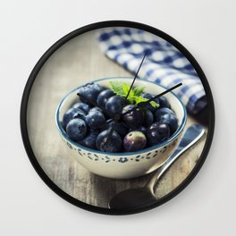 Fresh summer Blueberries on wooden background Wall Clock