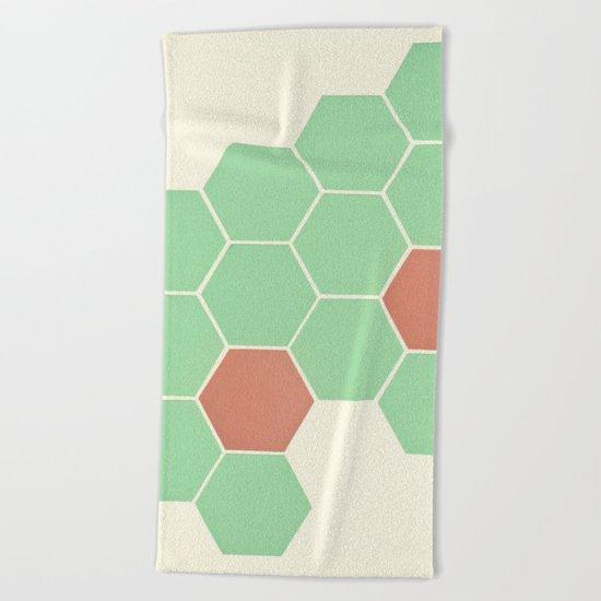 Mint Honeycomb Beach Towel