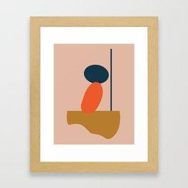 Abstract #1 Orange Blue Beige Gerahmter Kunstdruck