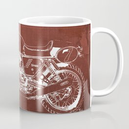 2010 Moto Guzzi V7 Clubman Racer red blueprint Coffee Mug