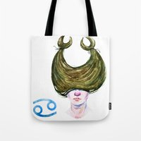 cancer Tote Bags featuring Cancer by Aloke Design