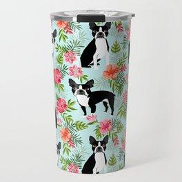 Boston Terrier florals tropical hawaiian print dog breeds custom dog art pet portraits Travel Mug
