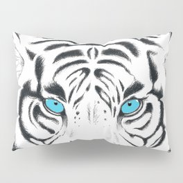 White Bengal tiger Blue Eyes Ink Art Pillow Sham