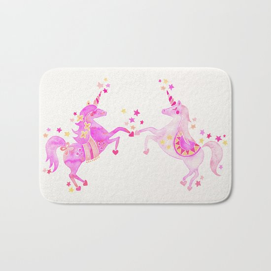 Pink Unicorns Bath Mat