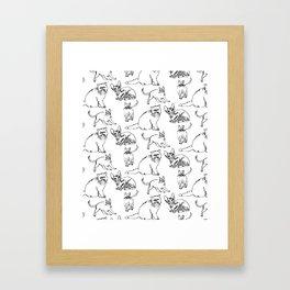 Minimal Black Line Cat Pattern Framed Art Print