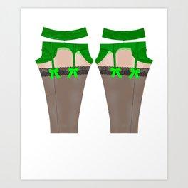 Lingeramas - Sexy Green Lingerie Legging Pajamas Art Print