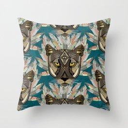 native mountain lion blue Throw Pillow