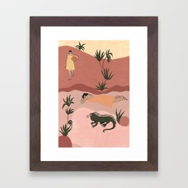 Sisters and Iguana Framed Art Print