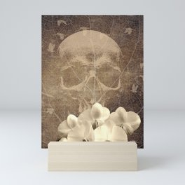Skull Human Vintage Flowers Digital Collage Mini Art Print