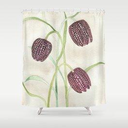 Fritillaria Watercolor Shower Curtain