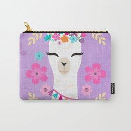 Cute Happy Llama - Purple Boho Alpaca with Flowers Carry-All Pouch