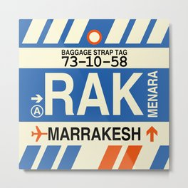 RAK Marrakesh • Airport Code and Vintage Baggage Tag Design Metal Print