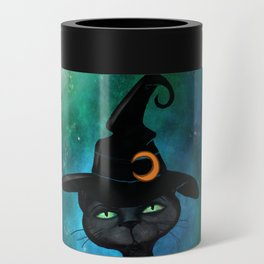 Witch's Familiar on a Pumpkin Can Cooler