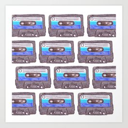 Cassette Pattern *Dark Blue Art Print