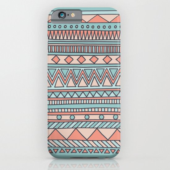 Tribal #4 (Coral/Aqua) iPhone & iPod Case