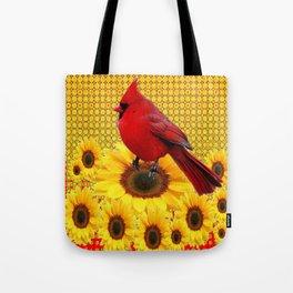 RED CARDINAL YELLOW SUNFLOWERS ART Tote Bag