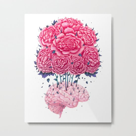 Creative Brains with peonies Metal Print