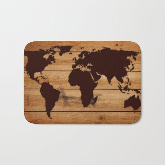 map world wood Bath Mat