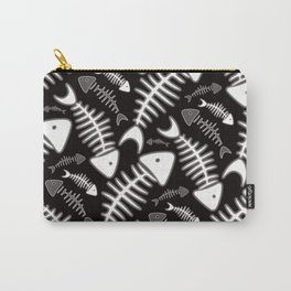Fish Bone Black & White Carry-All Pouch