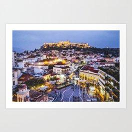 Athens Cityscape Fine Art Print Art Print