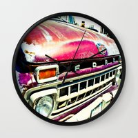 ford Wall Clocks featuring Ford Tough by Kim Ramage