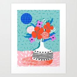 Oh Ay - memphis throwback still life retro florals modern minimal collage patterns Art Print