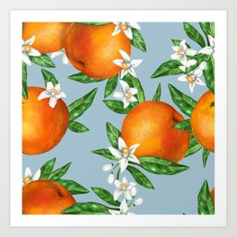 Watercolor hand painted pattern oranges and flowers leaves Art Print