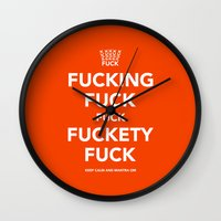 novelty Wall Clocks featuring Fucking Fuck Fuck Fuckety Fuck- Orange by IIIIStripeIIII