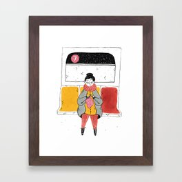 Moments in New York: Knitting on the train Framed Art Print