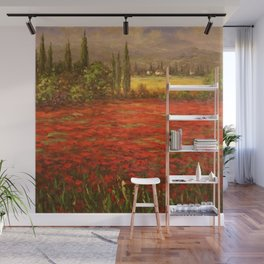 Red Poppy Fields of Tuscany Wall Mural