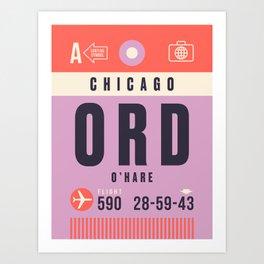 Luggage Tag A - ORD Chicago O'Hare USA Art Print