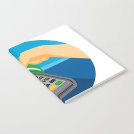 Hand Swiping Credit Card on POS Terminal Retro Notebook