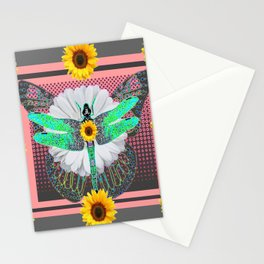 GREEN DRAGONFLY FLORAL UNIVERSE Stationery Cards